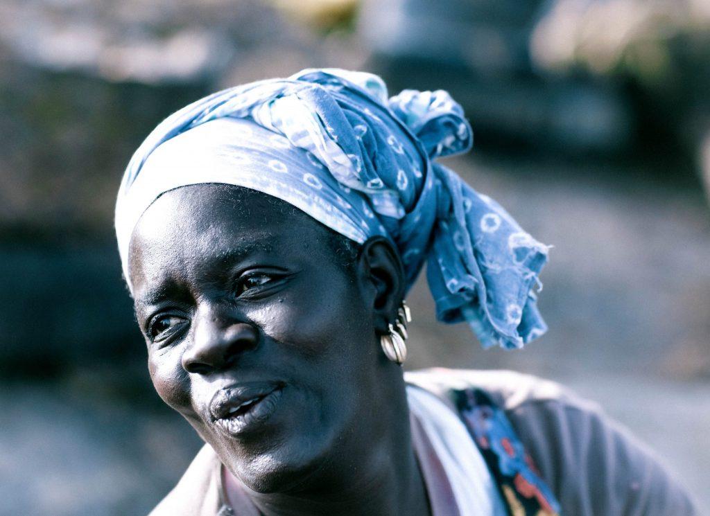 Woman Wearing Blue Scarf in Kinshasa